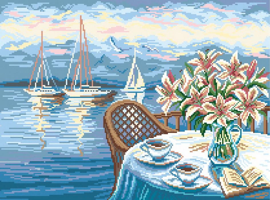 1869 Канва с рисунком Матренин Посад 'Утренний кофе' 37*49см