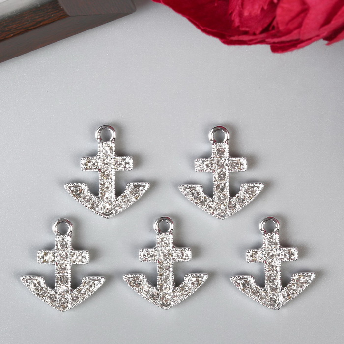 4285480 Декор для творчества металл, стразы 'Якорь' серебро 2,2х2 см