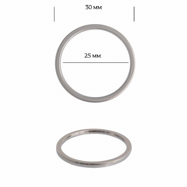 Кольцо металл TBY-3B13549.2 30мм (внутр. 25мм) цв. никель уп*10шт