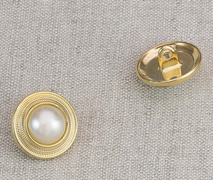 Пуговица металл ПМ54 16мм золото жемчуг, 2135001264880