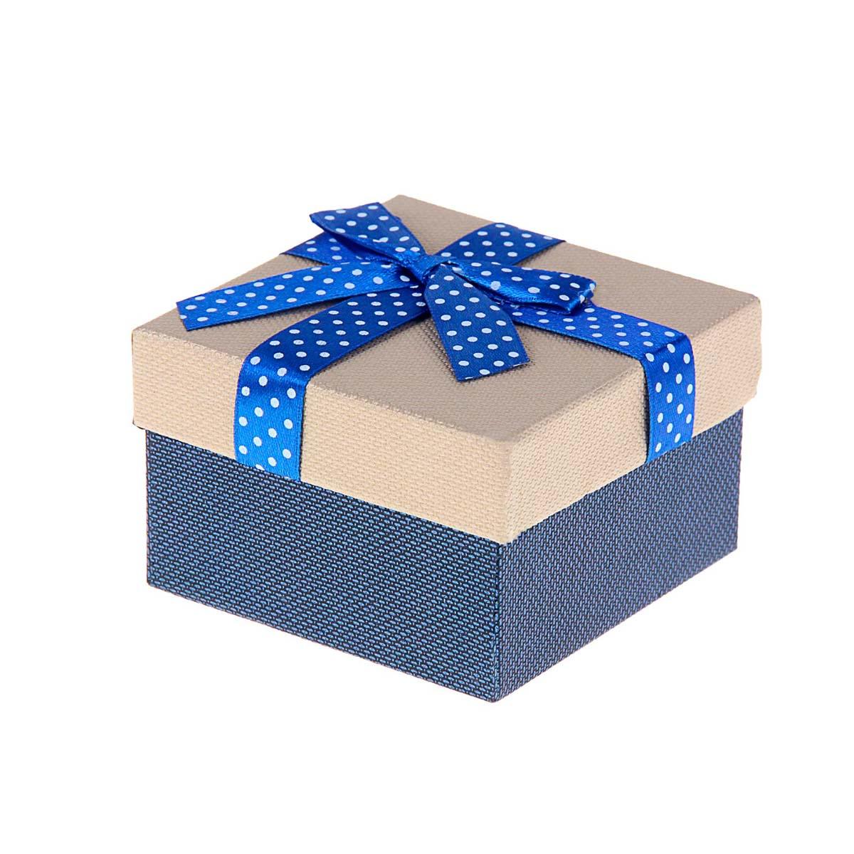 1150628 Коробка подарочная квадрат 'Бант' 9 х 9 х 5,5 см , цвет синий
