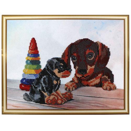 БН-3116 Набор для вышивания бисером Hobby&Pro 'Два щенка', 30*23 см