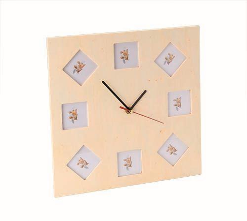61685030 Заготовка с часовым механизмом часы '8 рамок для фото', 30*30*25 см, Glorex