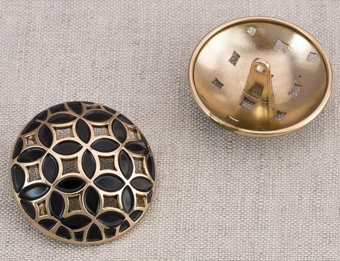 Пуговица металл ПМ62 30мм бронза эмаль узор, 2135001265030