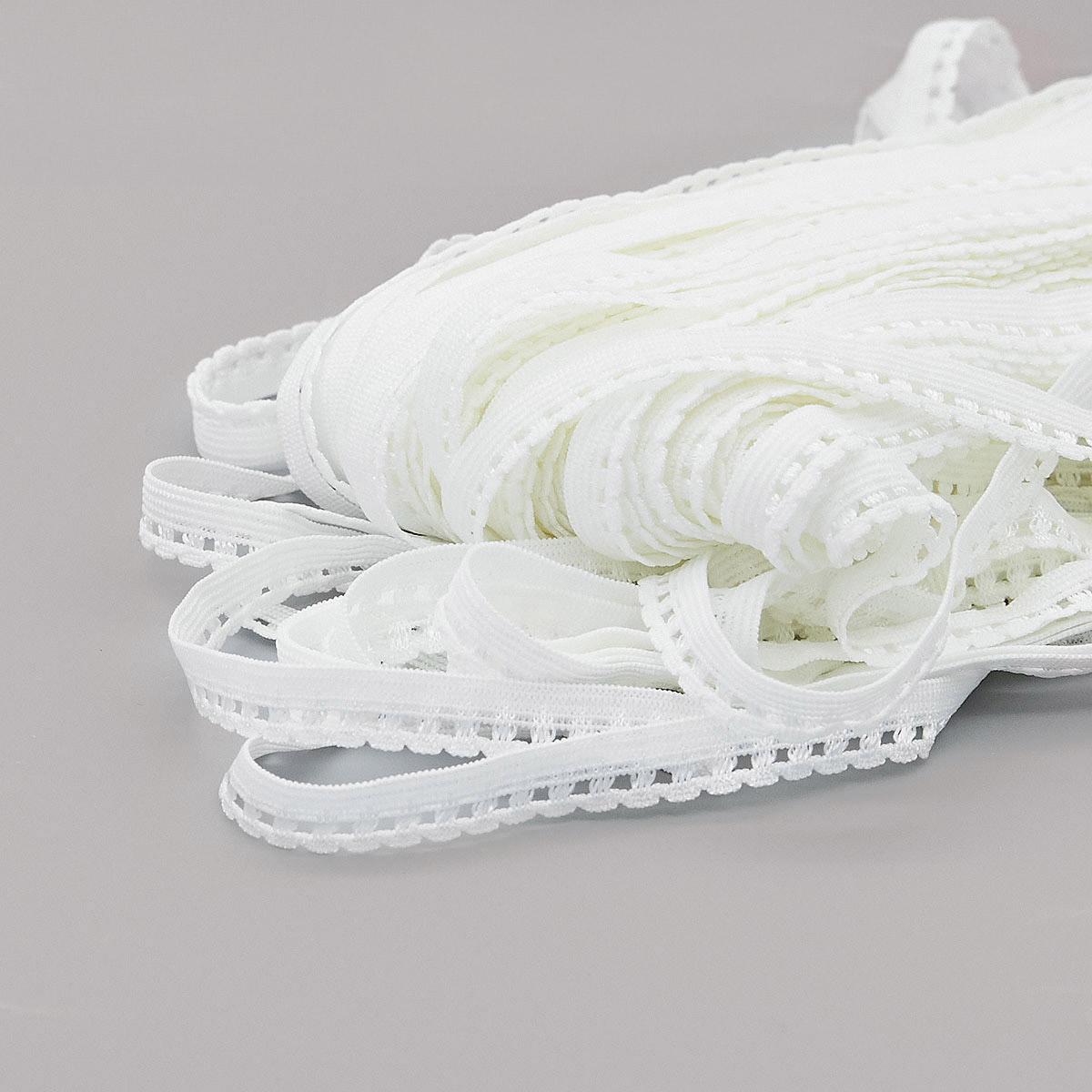 ST/11 эластичная ажурная лента 10мм*50м, белый