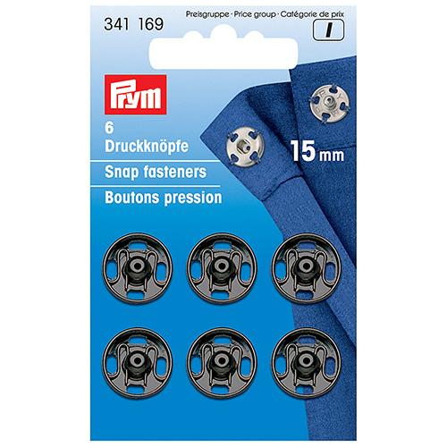 341169 Пришивные кнопки (латунь) черный цв 15 мм Prym