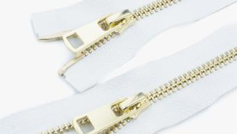 Молния металл №5 ТТ св.золото два замка 85см D030 белый, 2135001297901