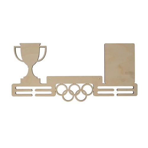 L-726 Деревянная заготовка медальница 'Кубок' на 8 крючков 50*24 см, Астра