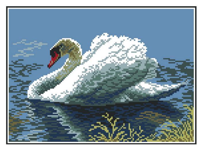 0381/Н Набор для вышивания Матренин посад 'Лебедь' 28*37см