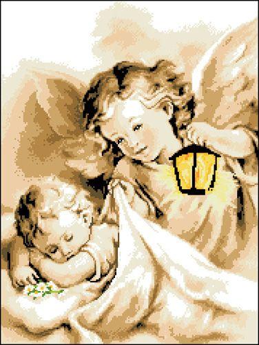 И-033 Канва с рисунком 'Гелиос' 'Ангел Хранитель и спящий малыш', 37х49 см