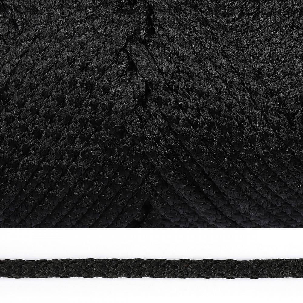 Шнур круглый полиэфир 05мм с наполнителем цв.черный уп.100м, ПЭСС5100Ч