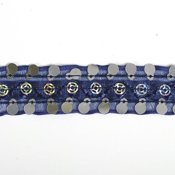 Тесьма с пайетками TBY арт.TH249 шир.20мм цв.038 синий уп.18,28м, TBYTH24938