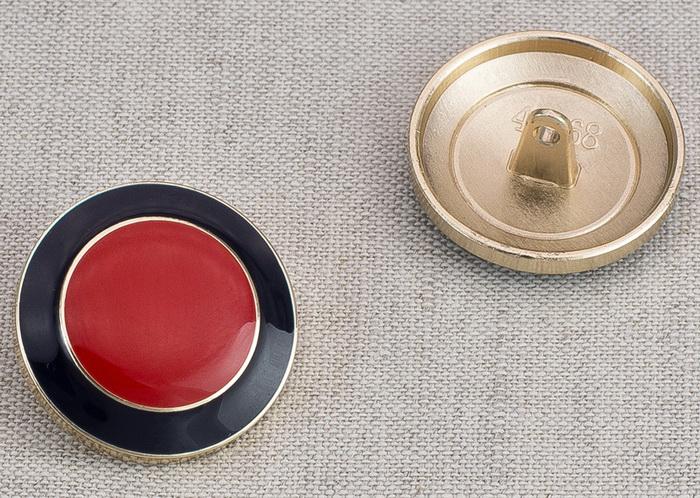 Пуговица металл ПМ75 25мм золото красный круг эмаль, 2135001265320