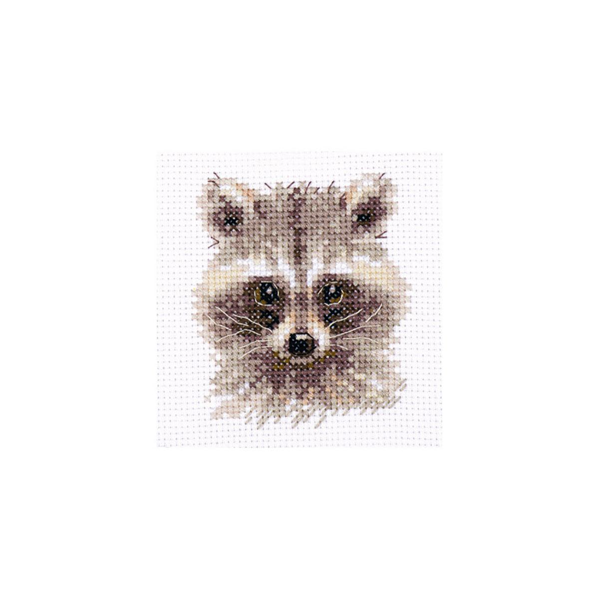 0-208 Набор для вышивания АЛИСА 'Животные в портретах. Енотик'7х8см