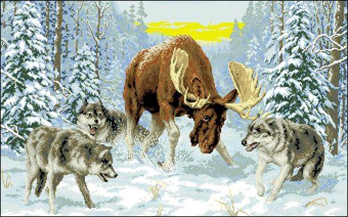 Ф-057 Канва с рисунком 'Гелиос' 'Лось и волки', 43х68 см