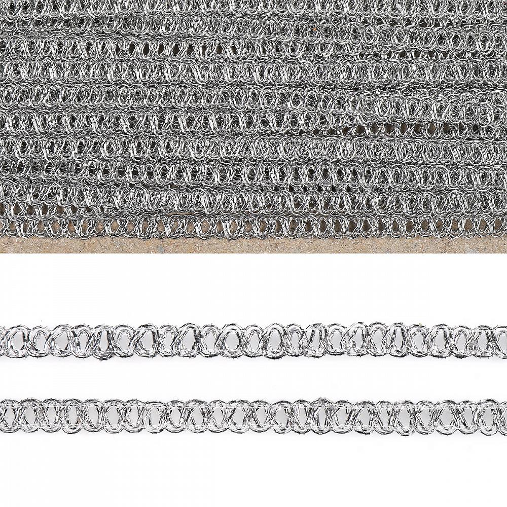 Тесьма отделочная арт.919 шир.6 мм цв.серебро уп.25,13м, TBYОТД919СЕР