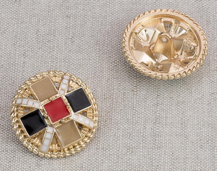 Пуговица металл ПМ79 25мм золото цветная эмаль, 2135001265405