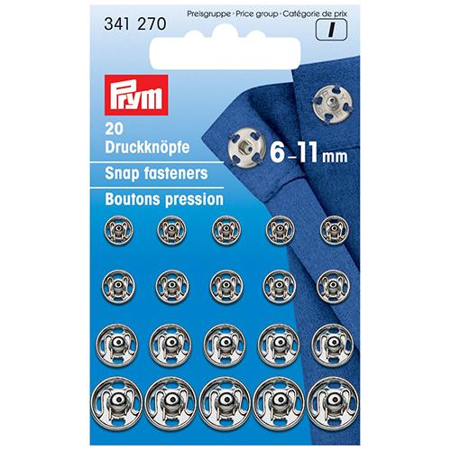 341270 Пришивные кнопки (латунь) серебристый цв. 6-11 мм Prym