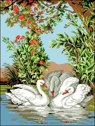 Ф-061 Канва с рисунком 'Гелиос' 'Лебеди', 37х48 см