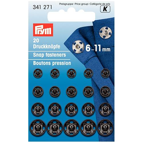 341271 Пришивные кнопки (латунь) черный цв. 6-11 мм Prym