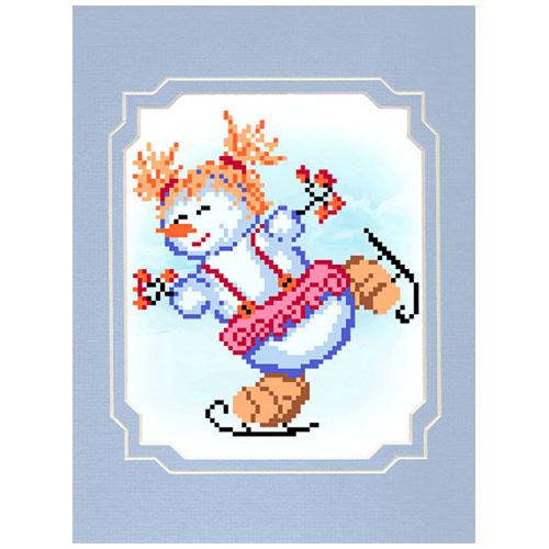 0081/БП Набор для вышивания с бисером и паспарту Матренин посад 'Фигуристка' 18*24см