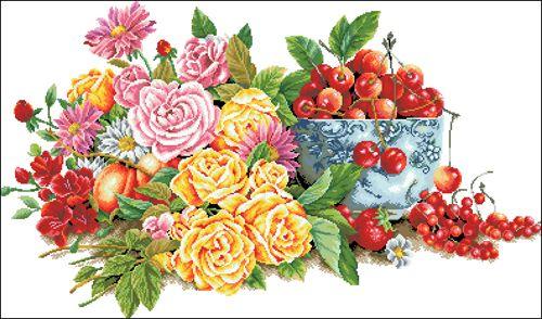Ц-046 Канва с рисунком 'Гелиос' 'Букет цветов и черешенки в вазе', 42х66 см