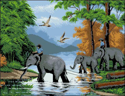 Ф-060 Канва с рисунком 'Гелиос' 'Переход слонов через реку', 41,5х53 см