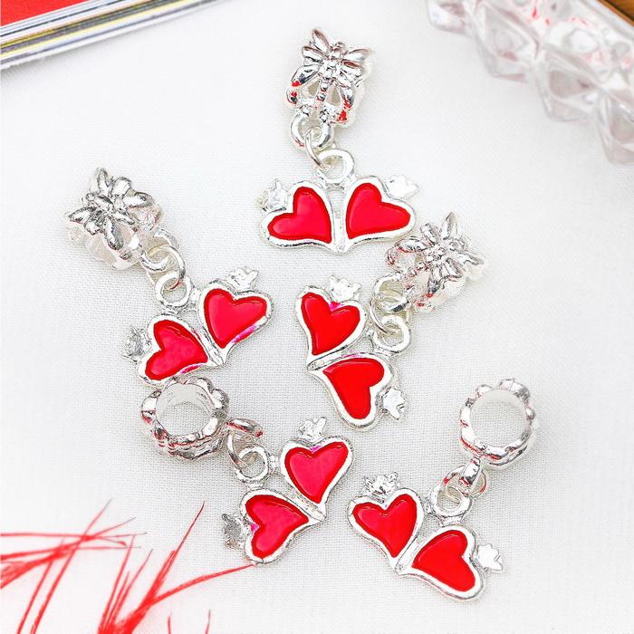 835013 Подвеска 'Два сердечка', цвет красный в серебре