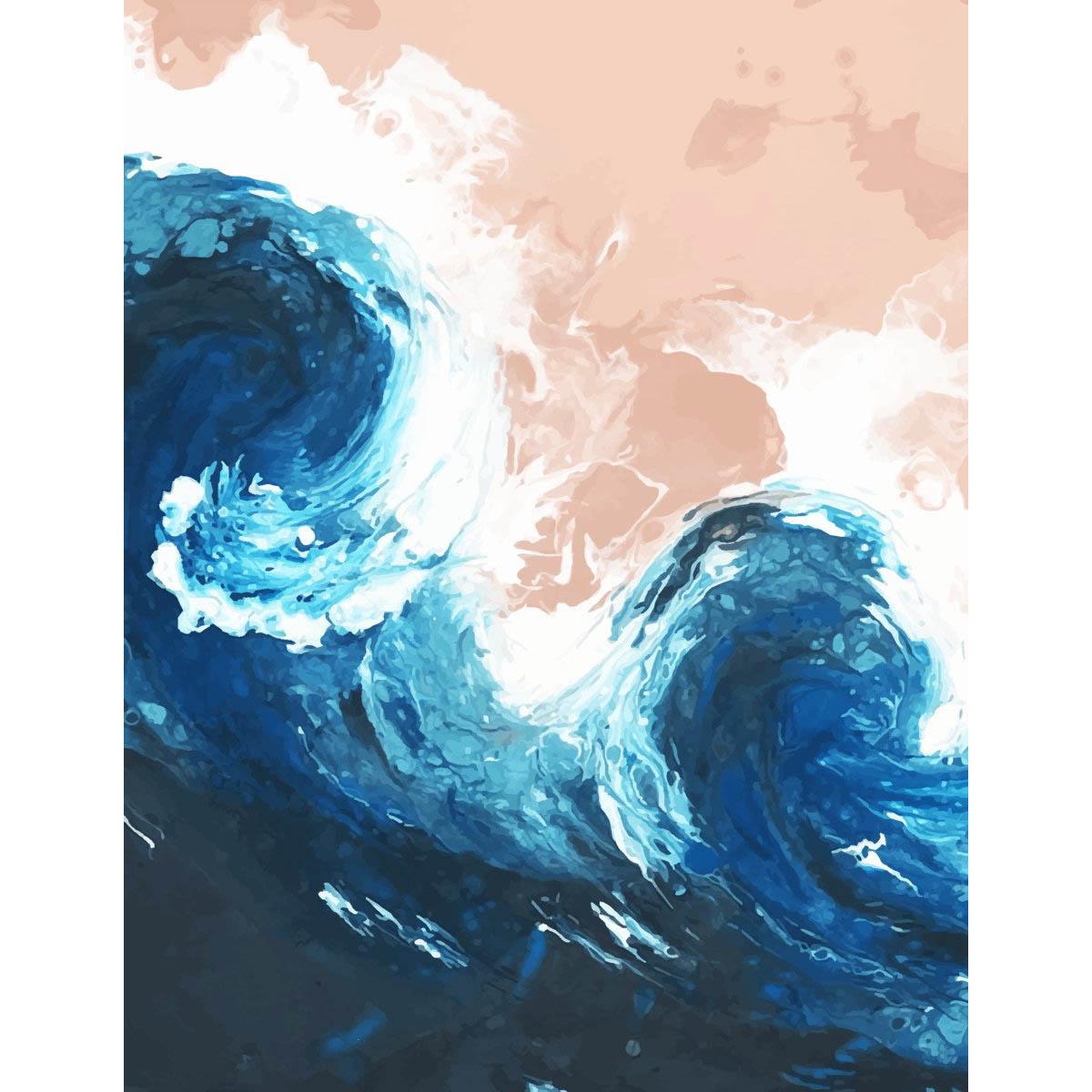 FA005 Набор для творчества Картина в стиле fluid art 'Морская волна' 30*30см