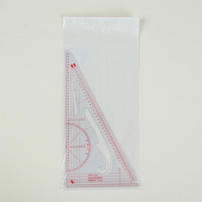 1215386 Лекало портновское метрическое «Треугольник», 20,5 × 11 см, прозрачный