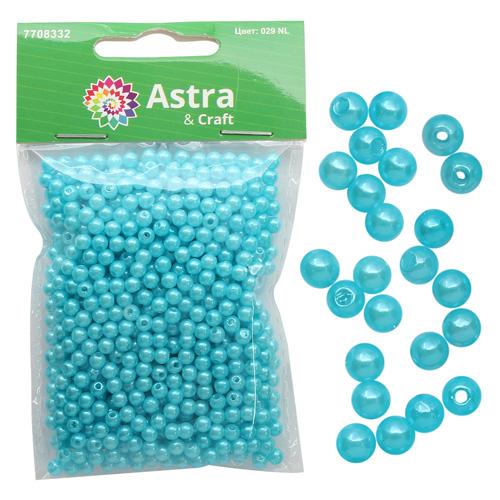 Бусины круглые, пластик, 4 мм, упак./25 гр., 'Астра'