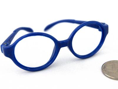26198 Очки без стекла , пластик, круглые, 7,5 см , 1шт цв.синий