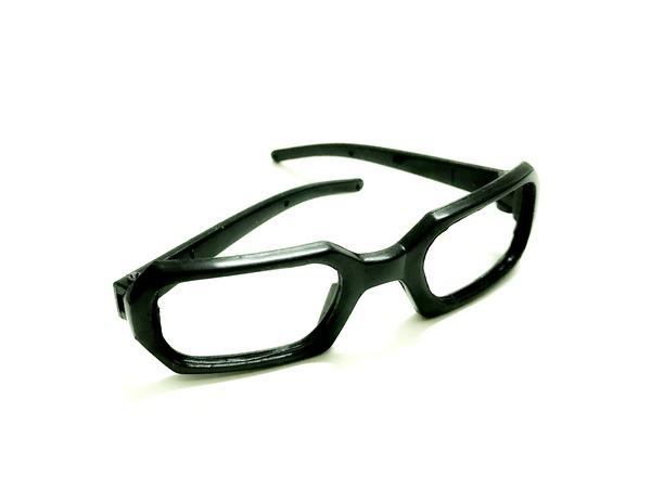 26199 Очки без стекла , пластик, прямоугольные, 7,5 см , 1шт цв.черный
