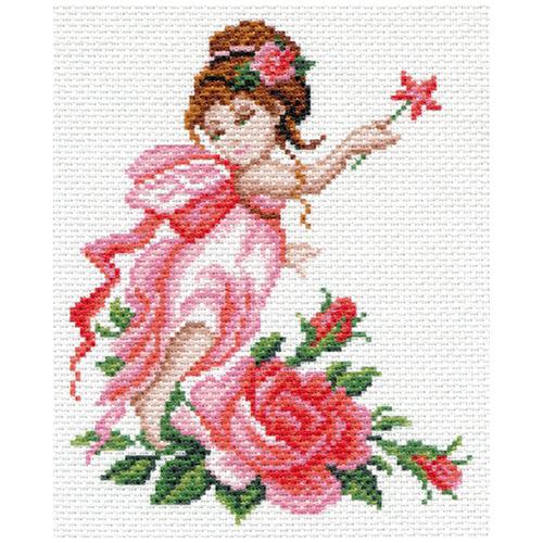1637-1 Канва с рисунком Матренин посад 'Фея роза' 21*29 см (28*37 см)