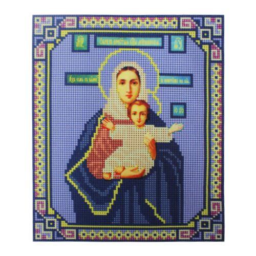 9038 Рисунок на ткани для вышивки бисером Nitex 'Леушинская Богоматерь', 17*22 см