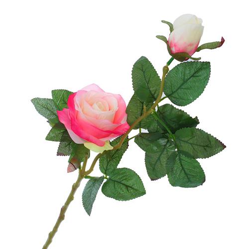1206466 Цветы искусственные 'Уральская роза' бело-розовая 45 см