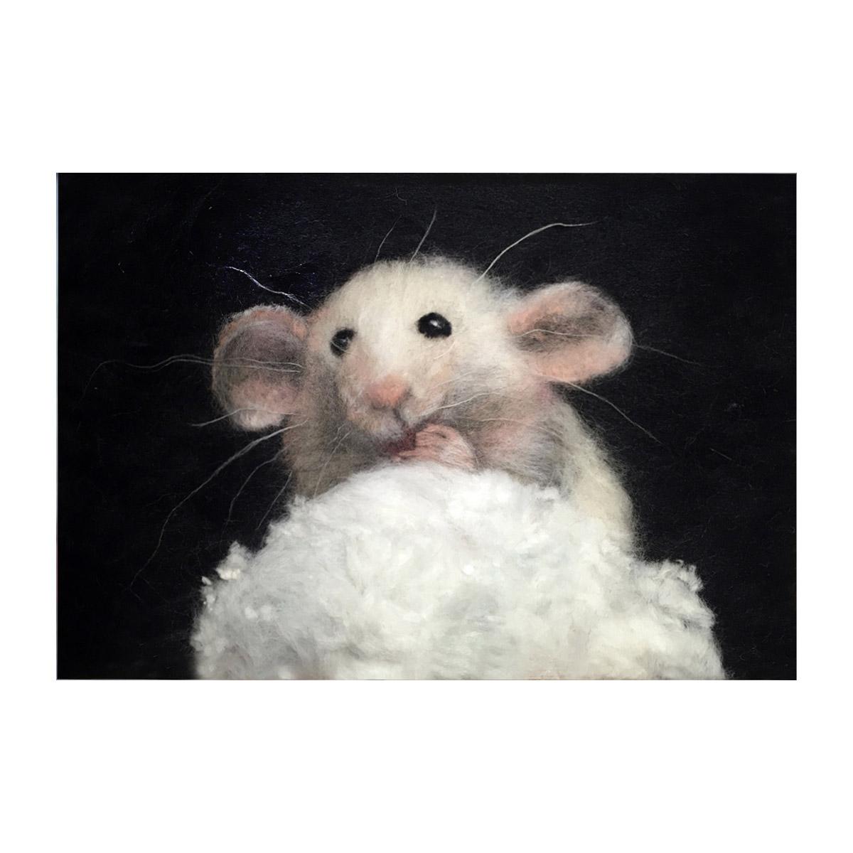 Набор для валяния (живопись цветной шерстью) 'Мышь' 21x29,7см (А4)
