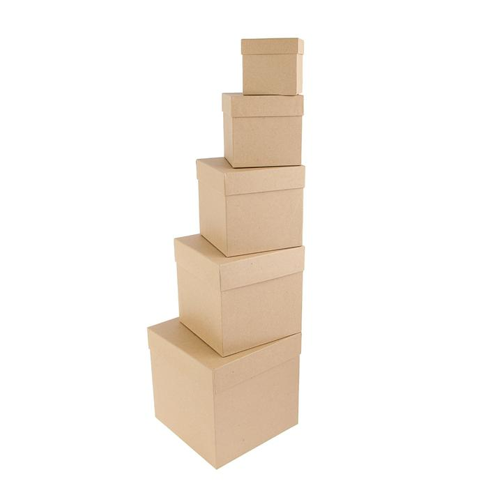 1190680 Набор коробок 5в1 'Крафт однотонный', 22.5 х 22.5 х 22.5 - 9.5 х 9.5 х 9.5 см