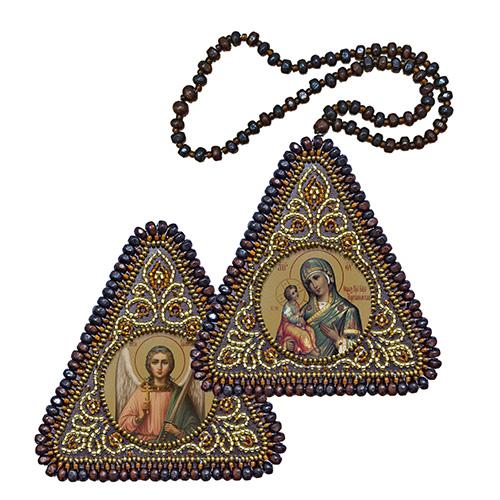 ВХ1018 Набор для вышивания бисером Нова Слобода 'Богородица Иерусалимская и Ангел Хранитель'7x7см