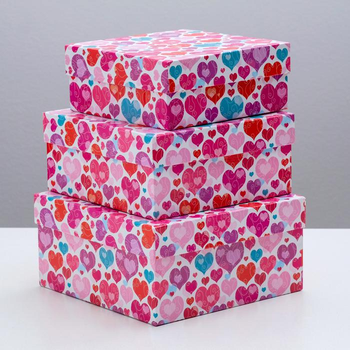 2085004 Набор коробок 3 в 1 'Отражения', 19 х 19 х 9,5 - 15,5 х 15,5 х 6,5 см