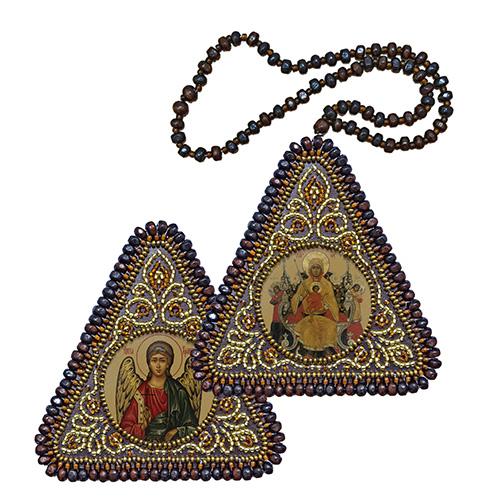 ВХ1022 Набор для вышивания бисером Нова Слобода 'Богородица 'Всецарица' и Ангел Хранитель'7x7см