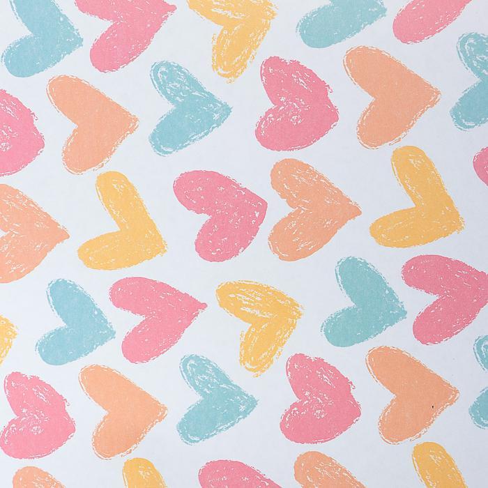 4171242 Бумага упаковочная глянцевая 'Меловые сердца', 70 х 100 см
