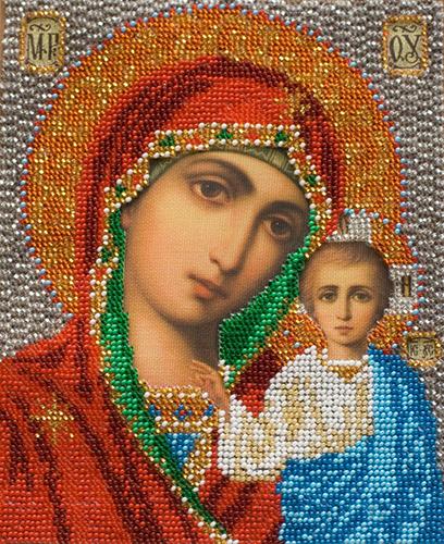 В302 Набор для вышивания бисером 'Кроше' 'Казанская Богородица', 12х14,5 см