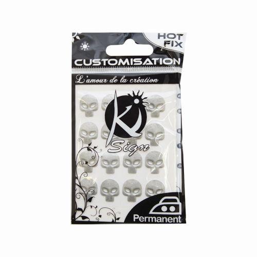 KS-C-METAL019AR Термоклеевые стразы металлик Череп, серебро, 12х10мм, 16шт Ki Sign