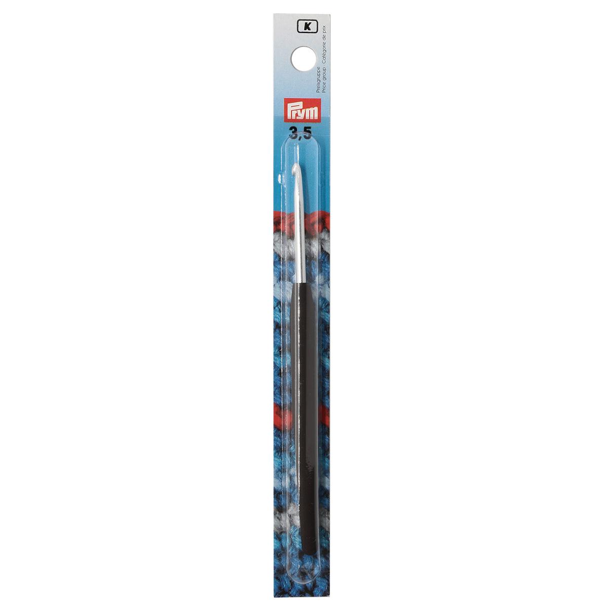 195175 Крючок для вязания с цветной ручкой, алюминий, 3,5 мм*14 см, Prym