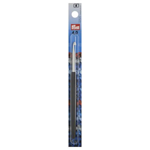 195176 Крючок для вязания с цветной ручкой, алюминий, 4 мм*14 см, Prym