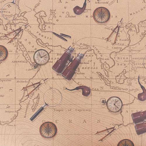 2791547 Бумага упаковочная крафт «Карта странствий», 50 х 70 см