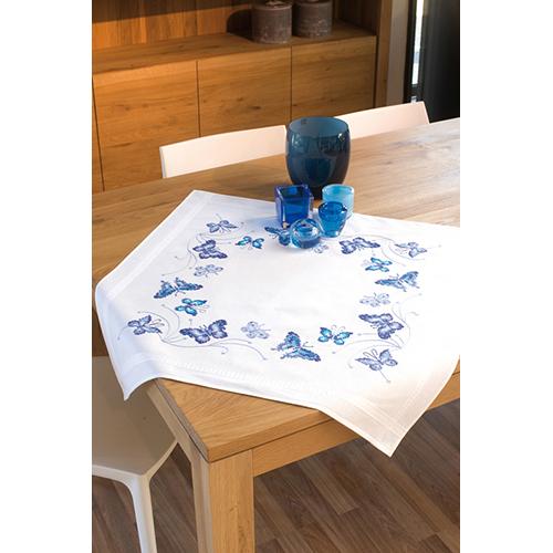 PN-0145088 Скатерть Vervaco 'Синие бабочки' 80x80см