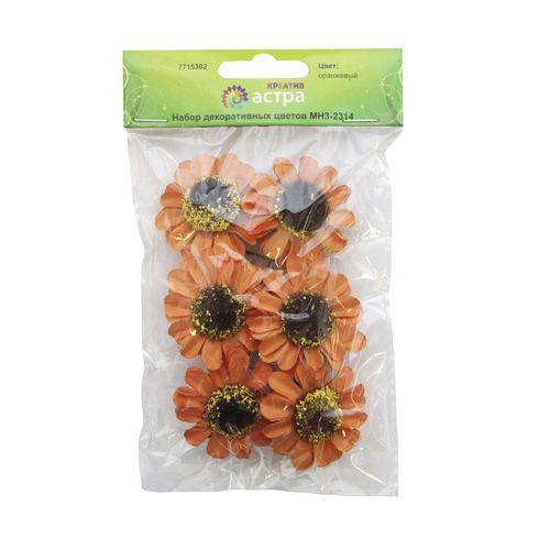 MH3-2314 Набор декоративных цветов, цв. оранжевый D=4*2см, 6шт, Астра