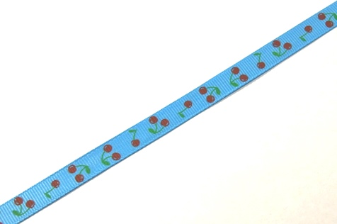 22042 Лента ID 1009 репсовая с рисунком 1,0см.*45,72м, цв. голубой